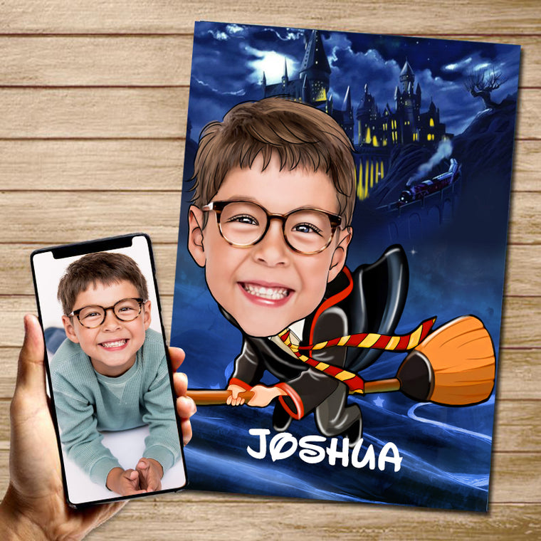 Personalized Hand-Drawing Kid's Photo Portrait Canvas Wall Art IX