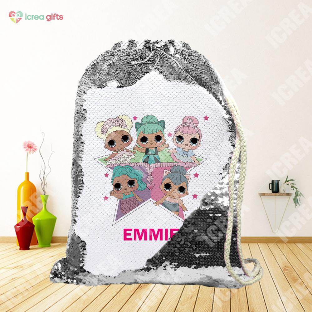 Personalized Doll Family Drawstring Sequin Backpack