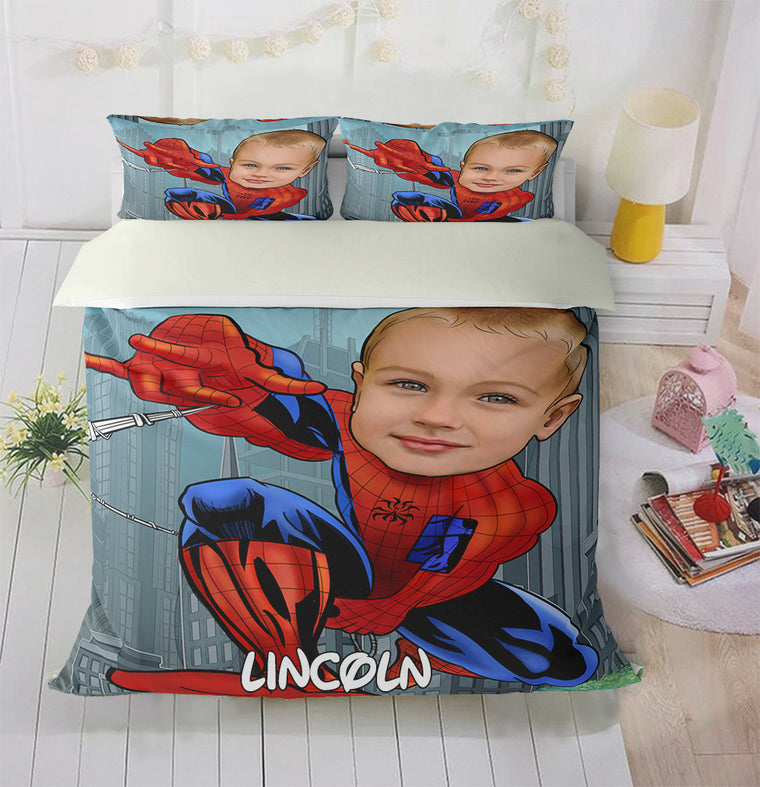 Personalized Hand-Drawing Kid's Photo Portrait Cozy Microfiber Bedding Set VI
