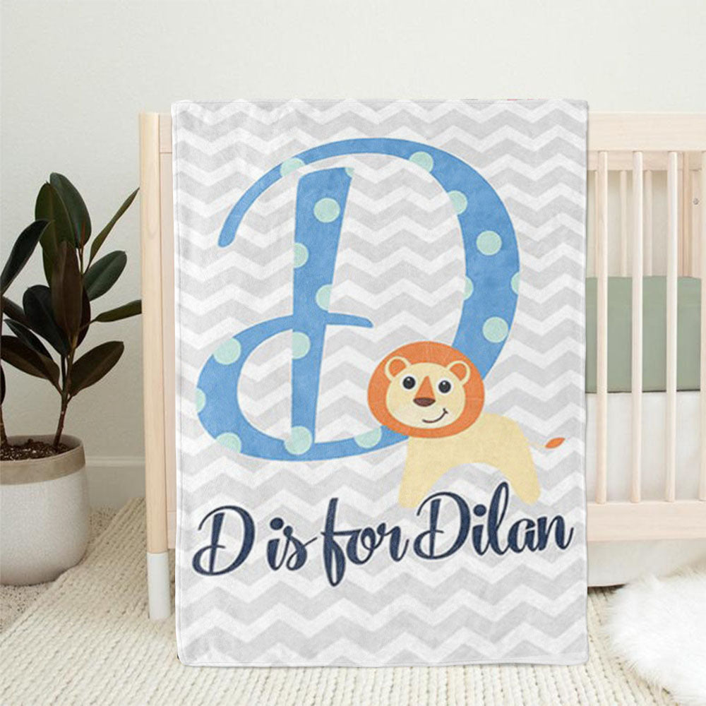 Personalized Lion Monogrammed Newborn Baby Name Blanket