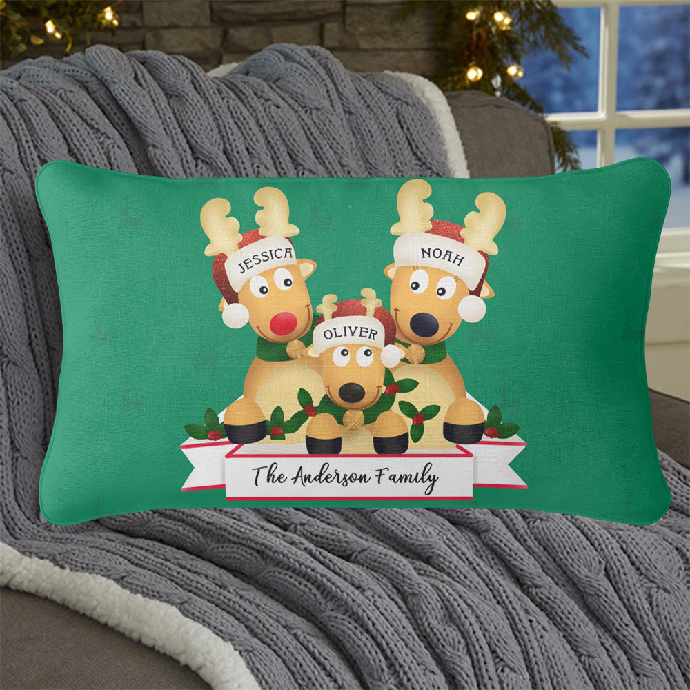 Personalized Christmas Deer Family Pillowcase With Name