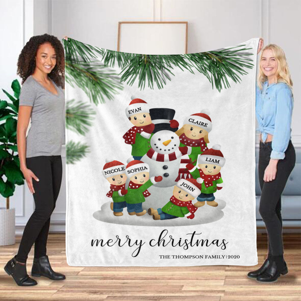 Personalized Christmas Snowman Family Member Fleece Blanket