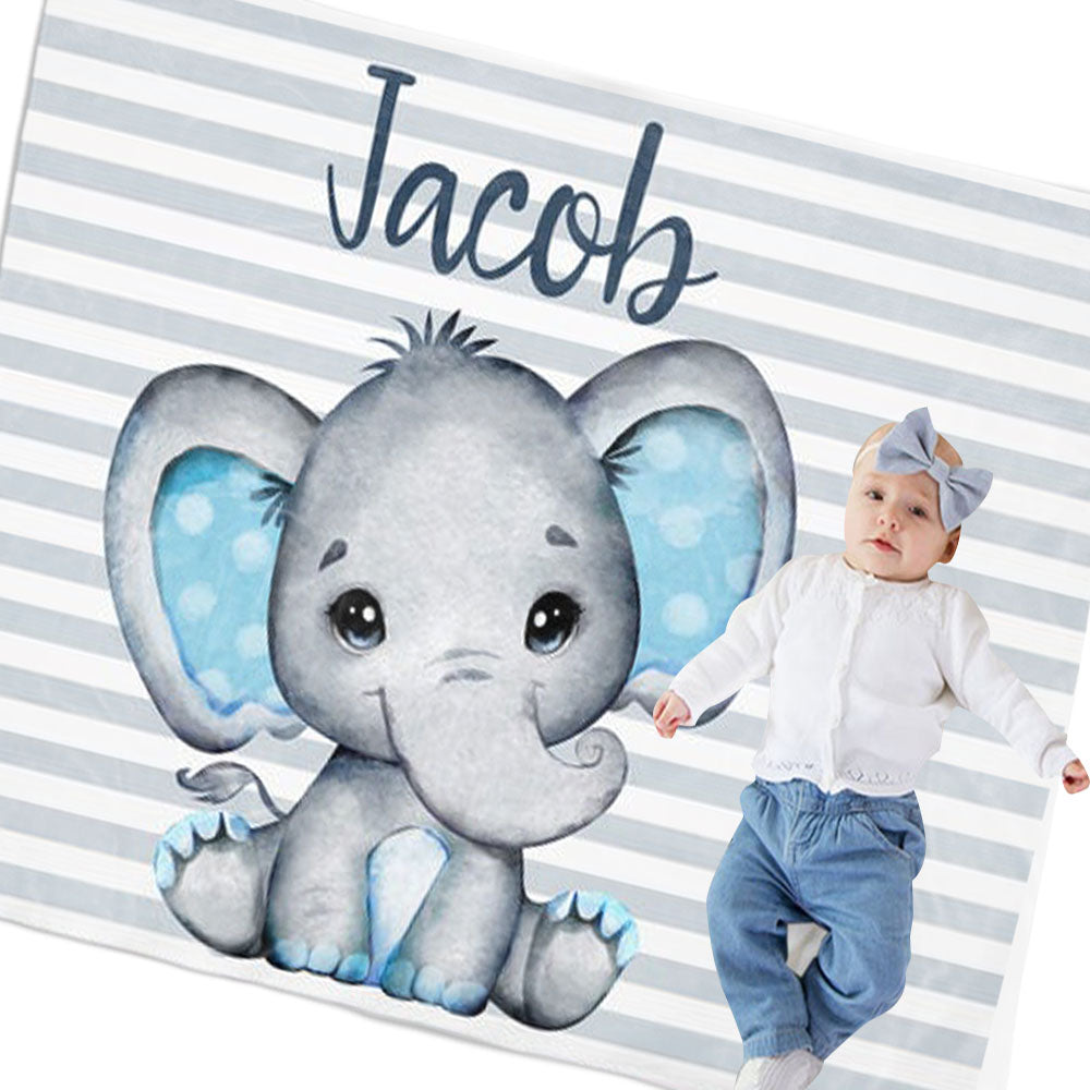 Personalized Elephant Boy Nursery Blanket, Custom Elephant Baby Bedding-BUY 2 SAVE 10%