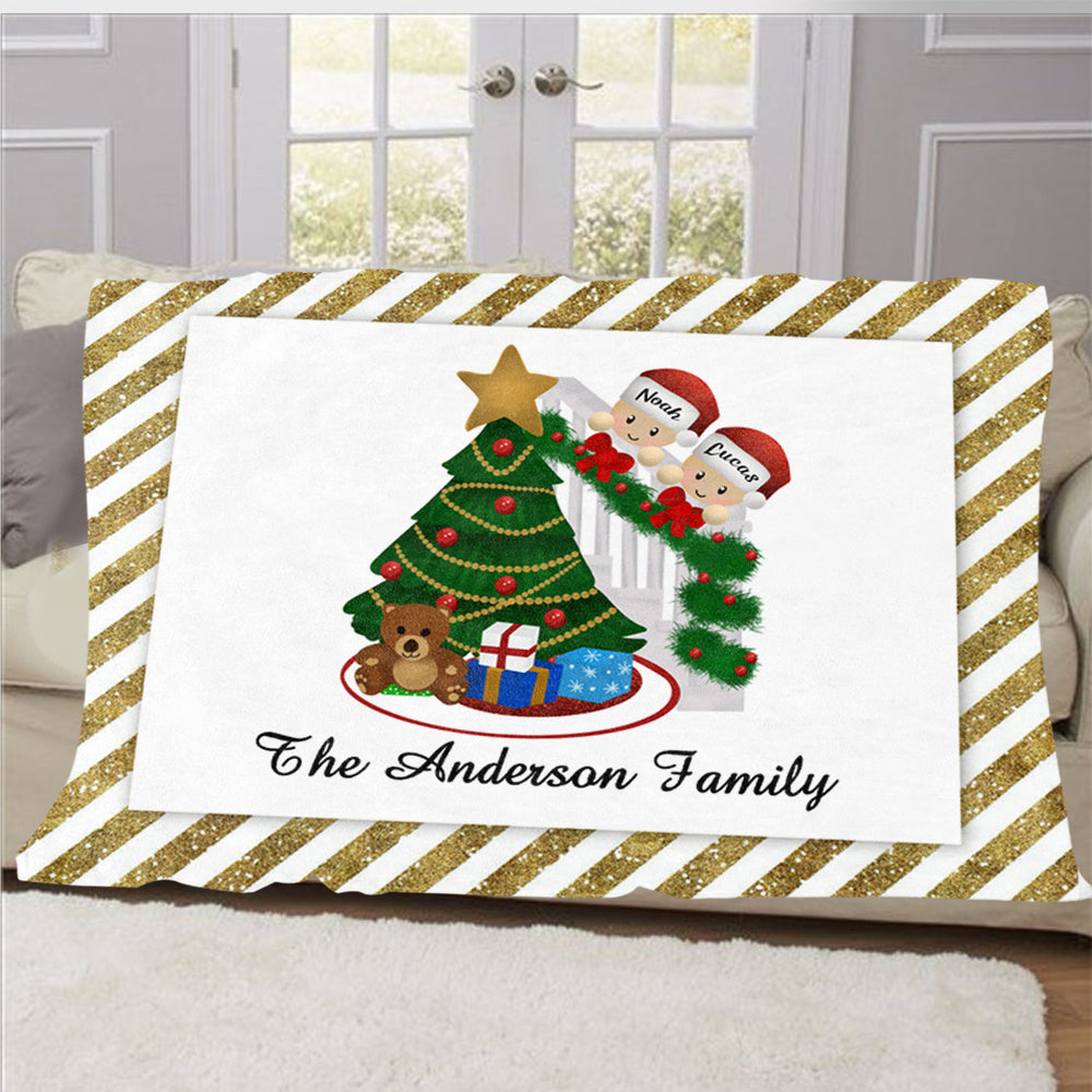 Personalized Christmas Tree and Hat Family Member's Name Fleece Blanket