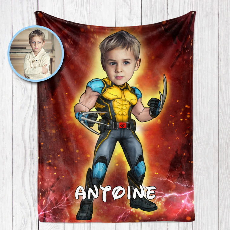 Personalized Hand-Drawing Kid's Photo Portrait Fleece Blanket XXII