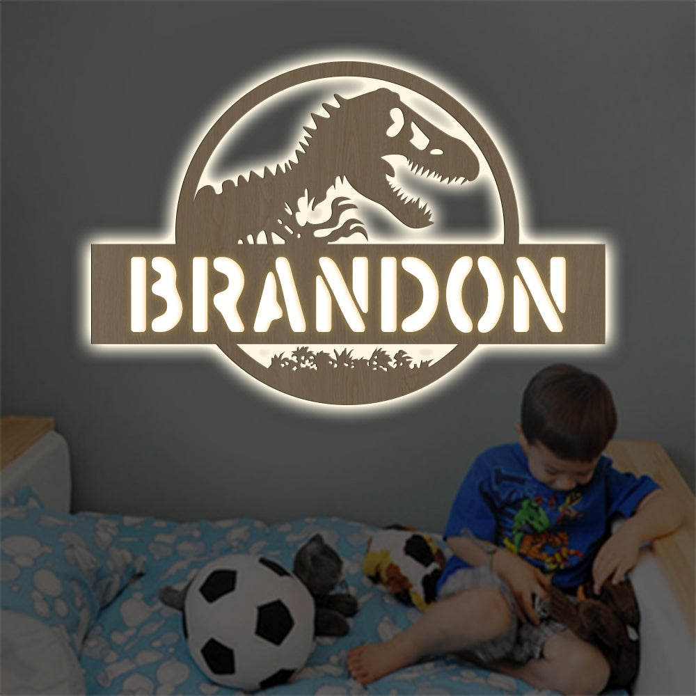 Personalized 7-Color Dinosaur Wooden Wall Light-Custom Name Home Nursery Boy Kids Room Decor