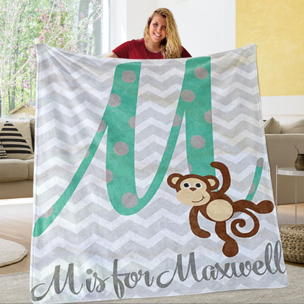 Personalized Monkey Monogrammed Newborn Baby Name Blanket