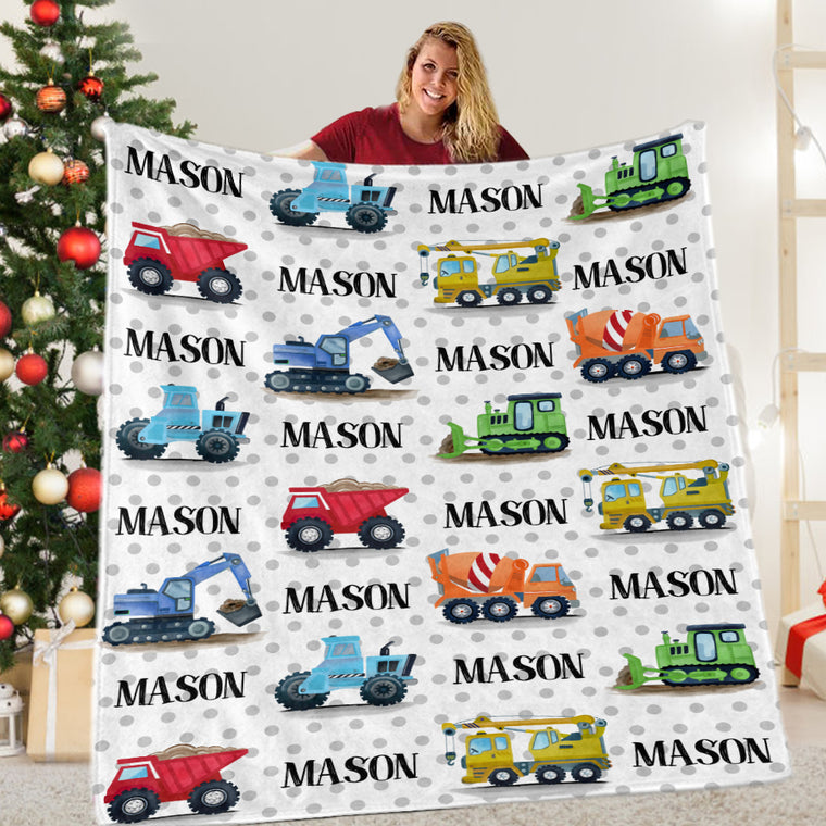 Custom Name Construction Truck Cozy Plush Fleece Blankets