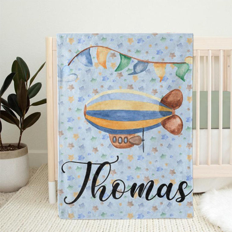 Personalized Airship Baby Boy Name Blanket, Custom Boy Nursery Bedding