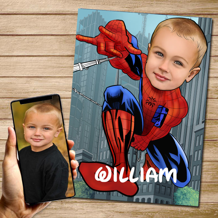 Personalized Hand-Drawing Kid's Photo Portrait Canvas Wall Art IV
