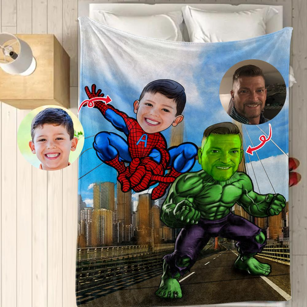 Personalized Hand-Drawing Kid's Photo Portrait Velveteen Plush Blanket XV - Made in USA