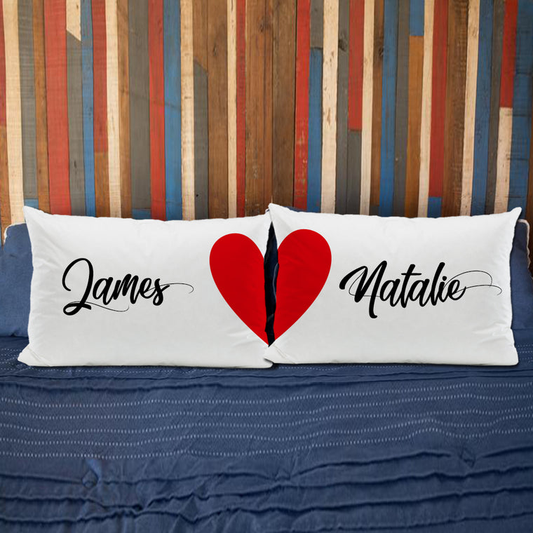 Personalized Couples Name Pillowcase Set (2 Pieces Included), Wedding & Anniversary Gift for Couples