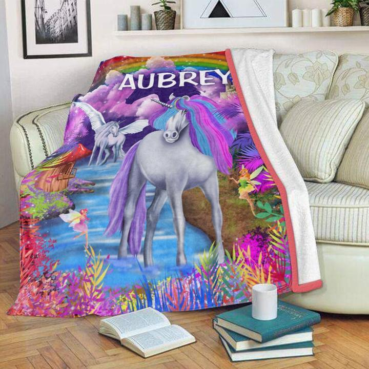 Custom Name Unicorn Velveteen Plush Blanket II - Made in USA
