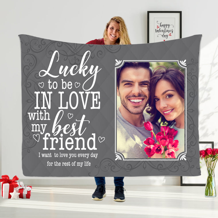Personalized Valentine's Day Family Leisure Time Blanket with Custom Text & Photos