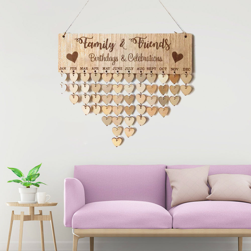 """Family & Friends"" Family Birthday Board With Natural Dics, Wooden Birthday Calendar"