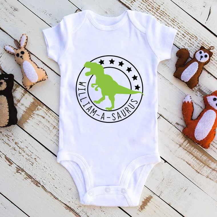 Personalised Dinosaur Baby Onesie, Birthday Gift for Your Children