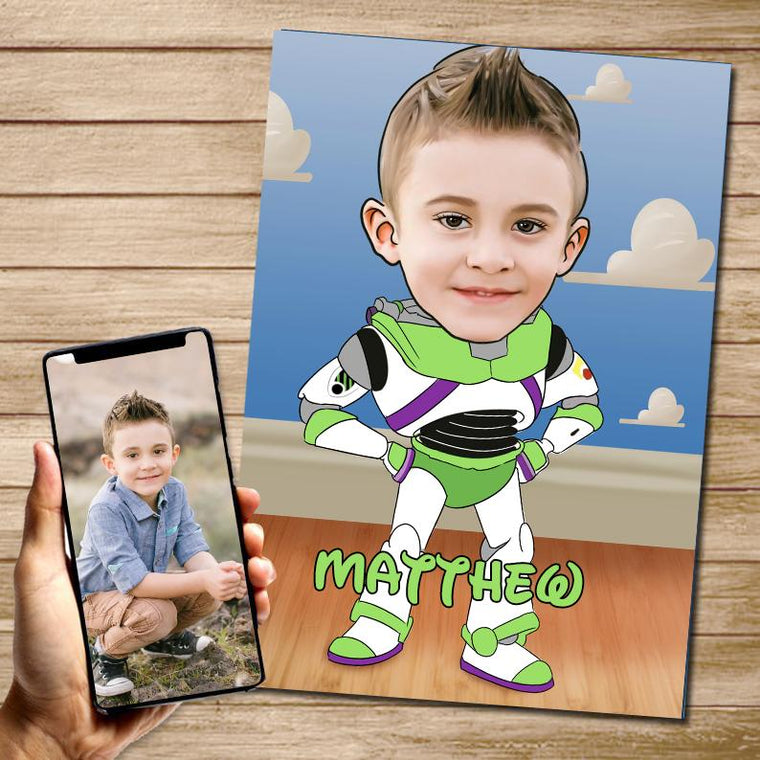 Personalized Hand-Drawing Kid's Photo Portrait Canvas Wall Art VIII