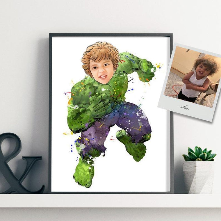 Custom Hand-Drawing Kid's Portrait Canvas Wall Art I