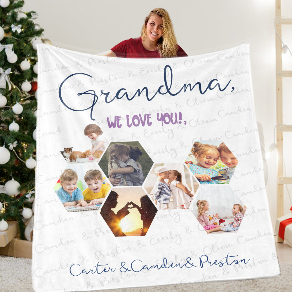 Personalized Christmas Family Leisure Time Blanket with Children's Names