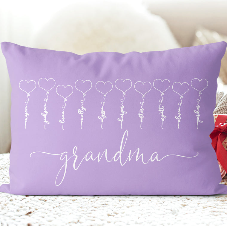 Personalized GrandKids Name Pillowcase II, Custom Mothers Day Gift for Great Grandparents