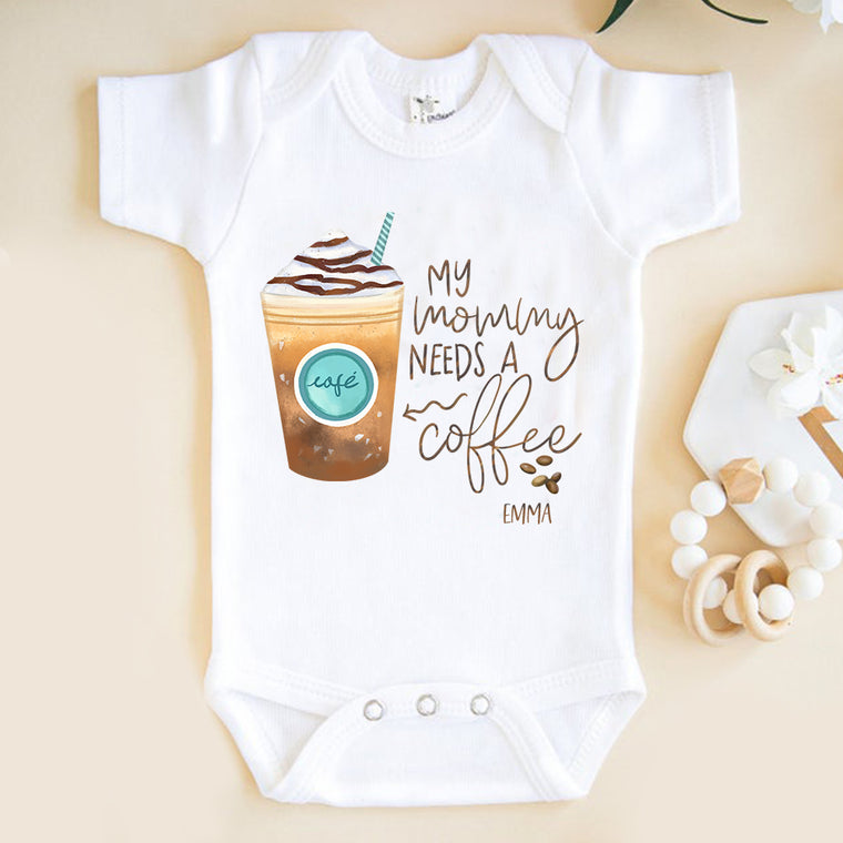My Mommy Needs A Coffee Custom Name Infant Fine Jersey Bodysuit
