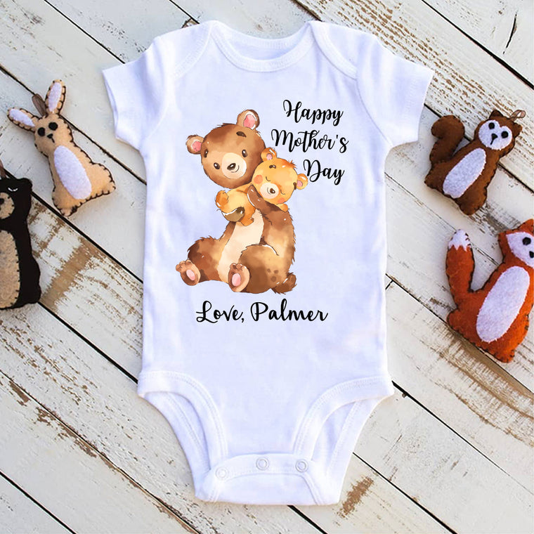 Custom Two Bears Mother's Day Baby Onesie
