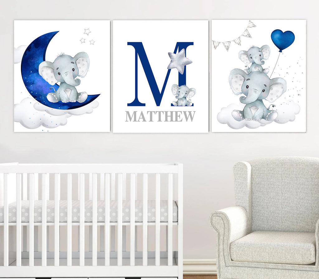 Personalized Initial & Name Baby Elephant Wall Art, Baby Boy Nursery Wall Art, 3 Piece Set Canvas Print