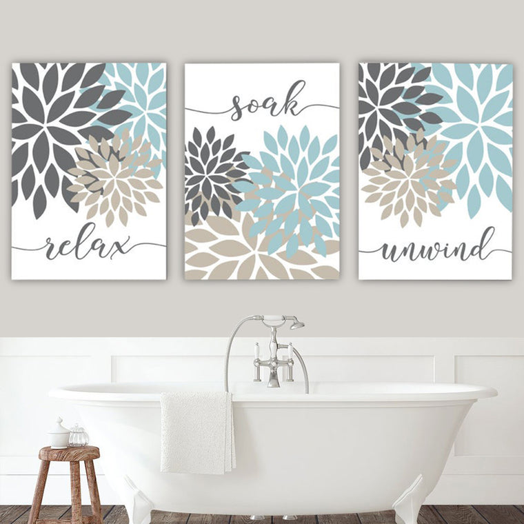Relax Soak Unwind Bathroom Canvas Art Set II