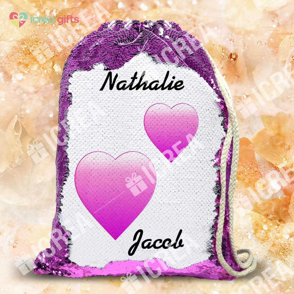 Personalized Sequin Backpack For Couples