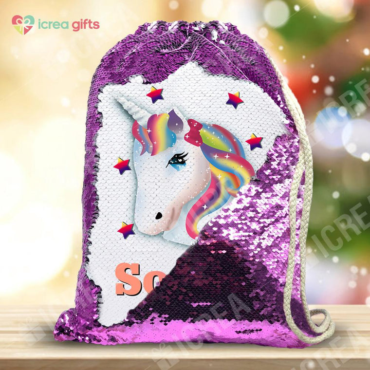 Personalized Unicorn Drawstring Sequin Backpack