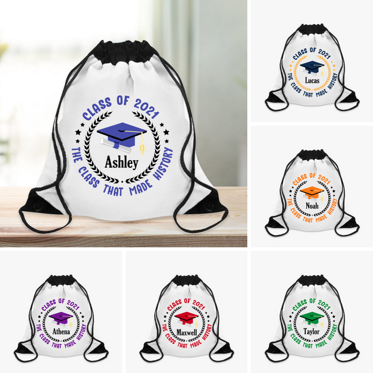 Class of 2021 Custom Name Graduation Drawstring Backpack