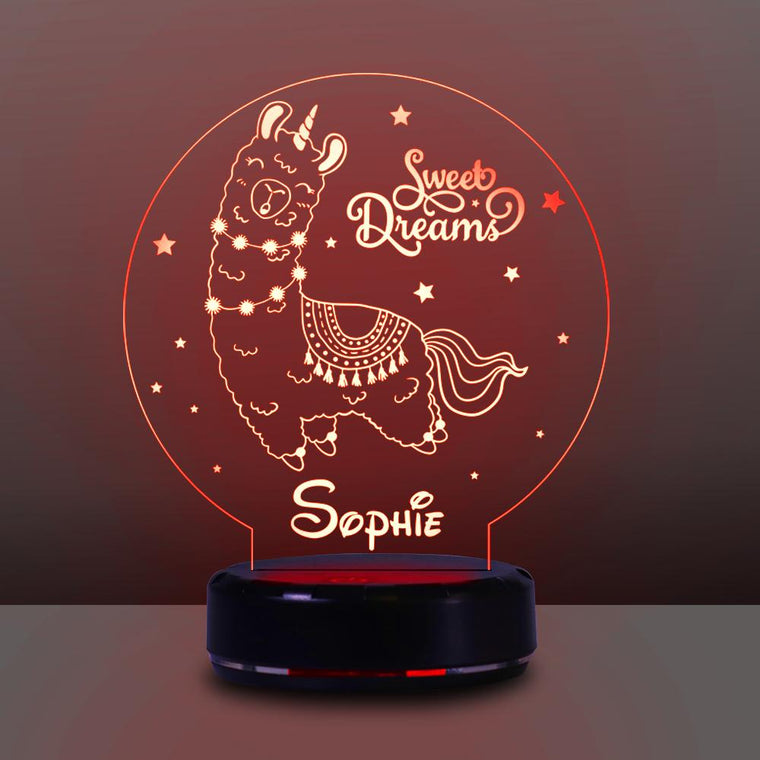 Personalized Name Night Lights for Kids Sweet Dream Llama