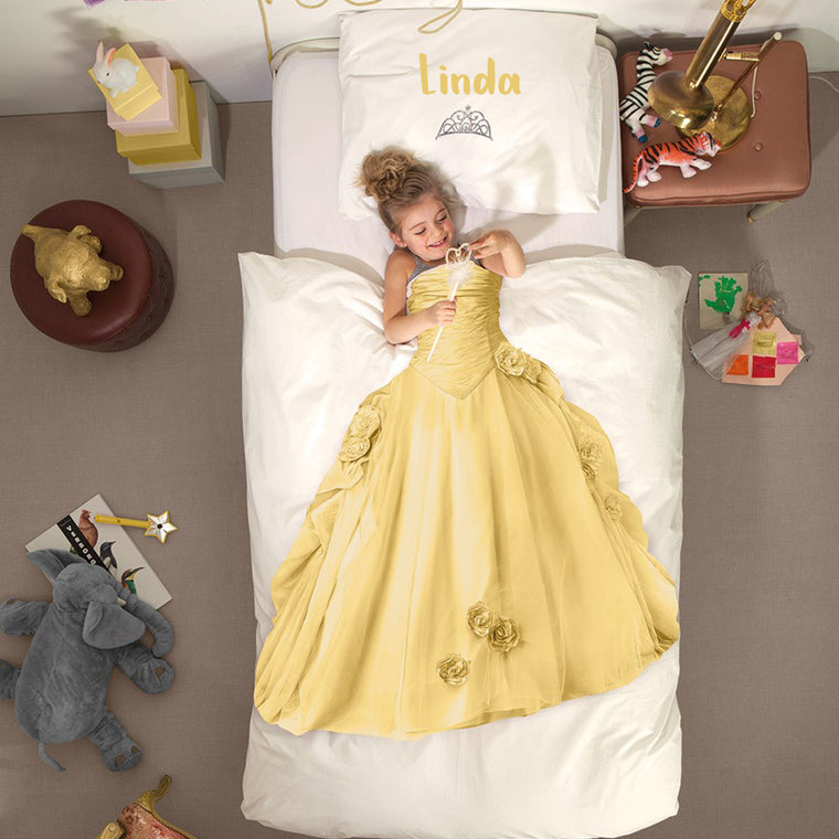 Personalized Name Kid Yellow Princess Microfiber Bedding Set V