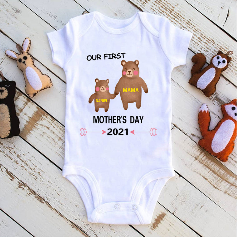 Custom Bear Mother's Day Baby Bodysuits and Matching Mom Shirts