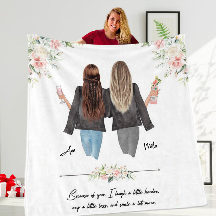 Custom Name Best Friend Blanket, Personalized Sisters Blanket I