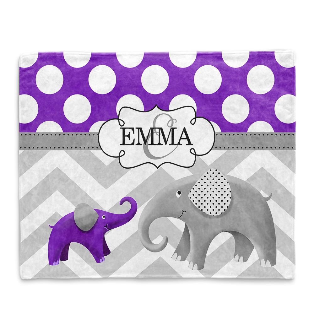 Personalized Initial & Name Purple Elephant Fleece Blankets