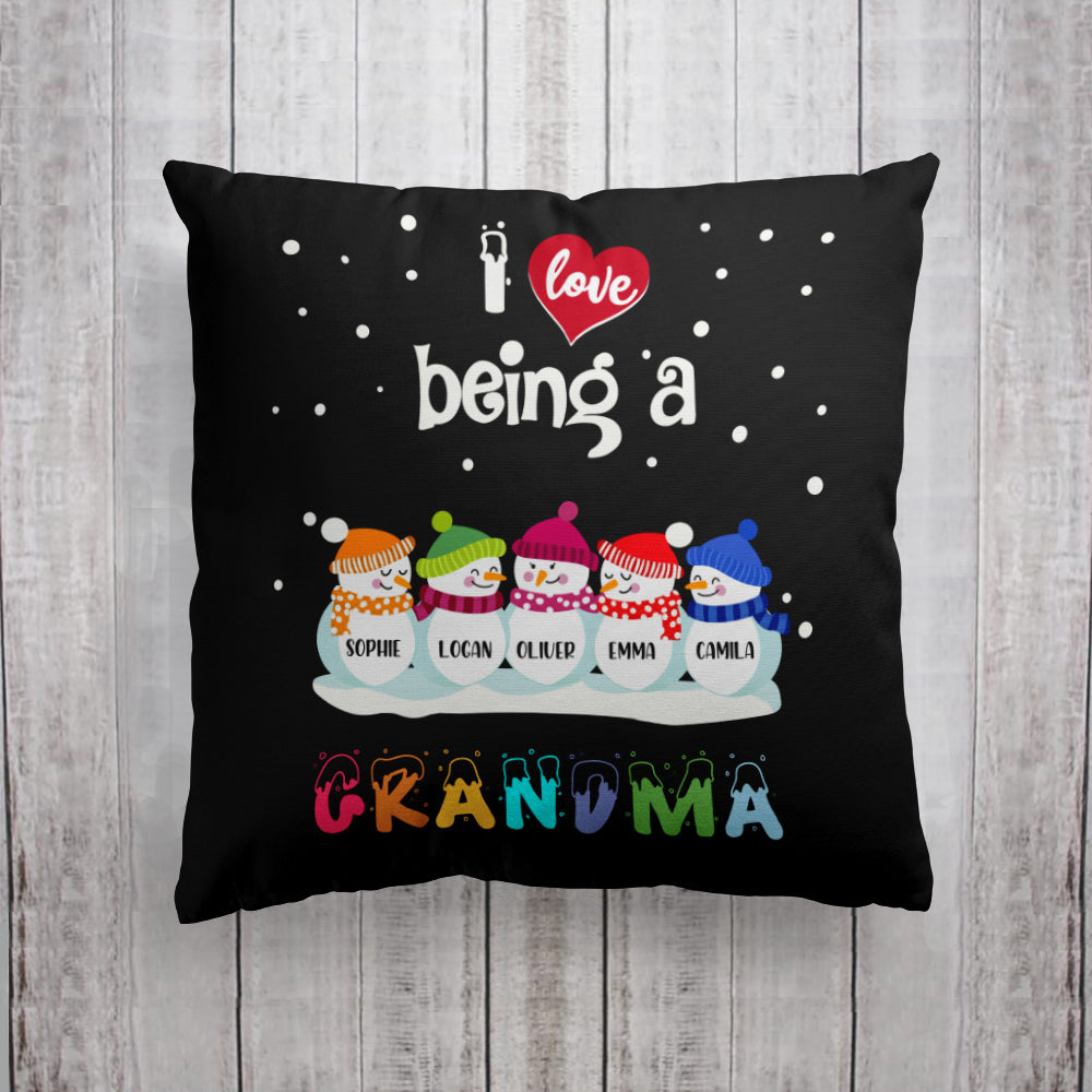 Custom Snowmen Pillowcase With Nickname & Grandkids' Names