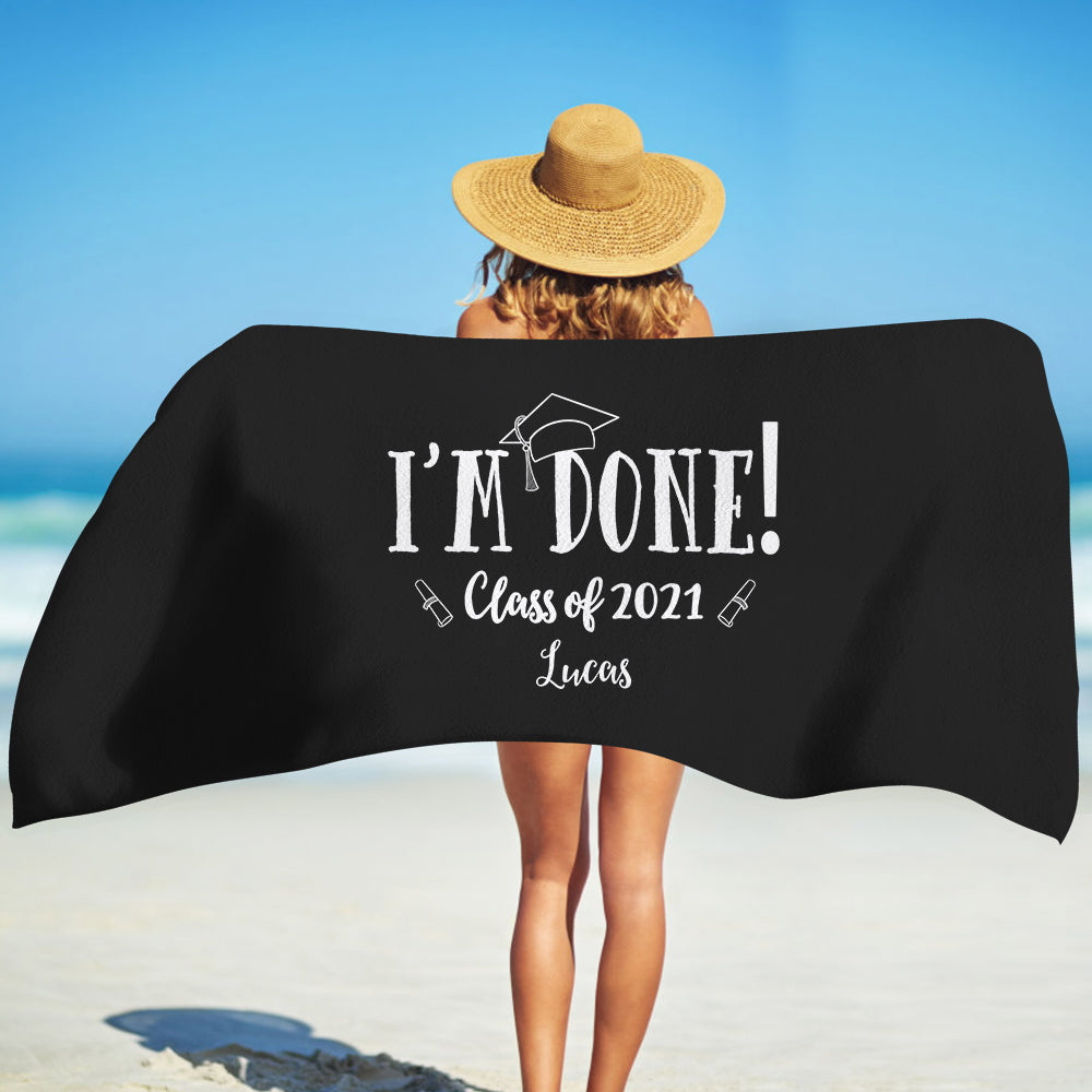 Class Of 2021 Personalized Name Graduation Beach Towel I