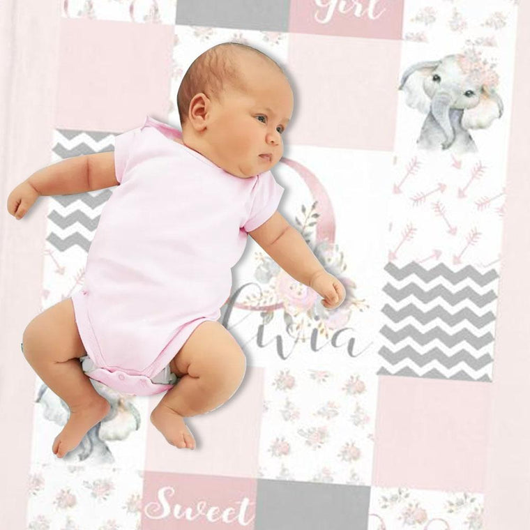 Personalized Baby Girl Elephant Blanket, Custom Initial & Name Pink Floral Nursery Blanket