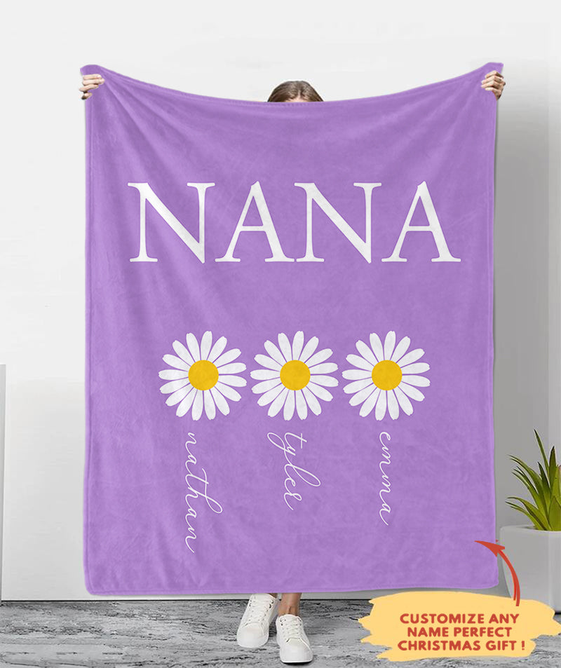 Personalized Nickname & Kids' Names Fleece Blankets Daisy