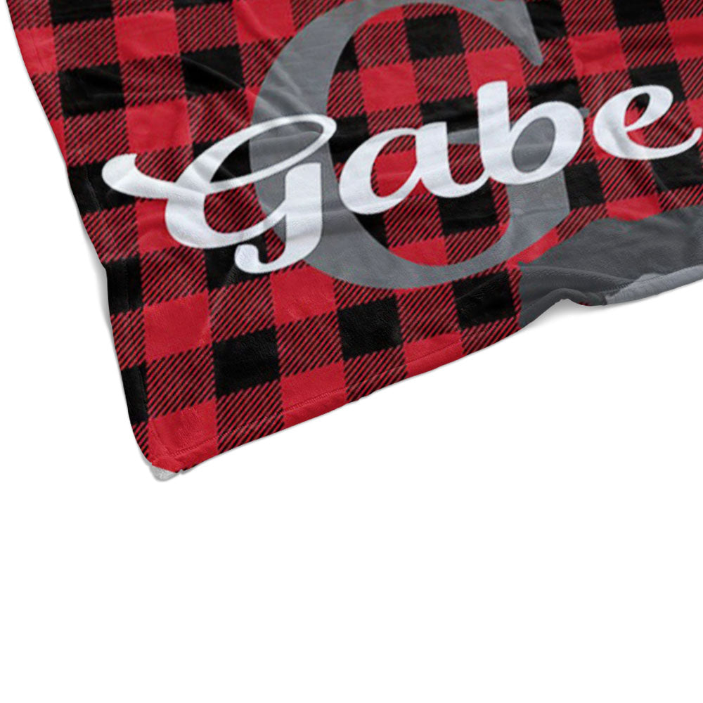 Personalized Red and Black Lattice Monogrammed Newborn Baby Name Blanket -BUY 2 SAVE 10%