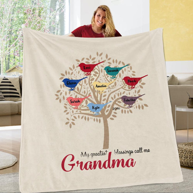 Personalized Family Tree Fleece Blanket with Nickname & Kids Names