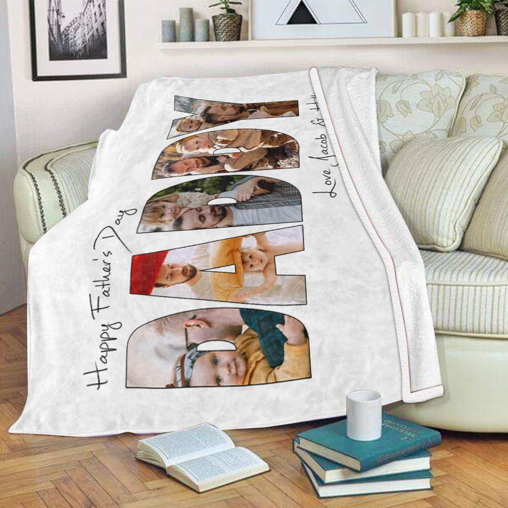 Personalized Father's Day Photo Collage Fleece Blanket-BUY 2 SAVE 10%