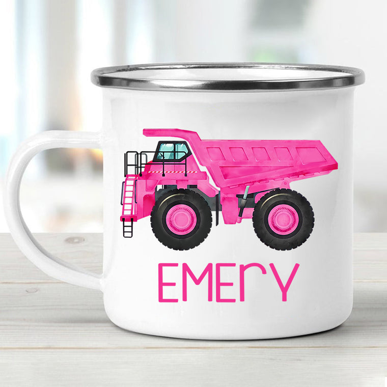 Custom Name Truck Children's Enamel Campfire Mug XVII