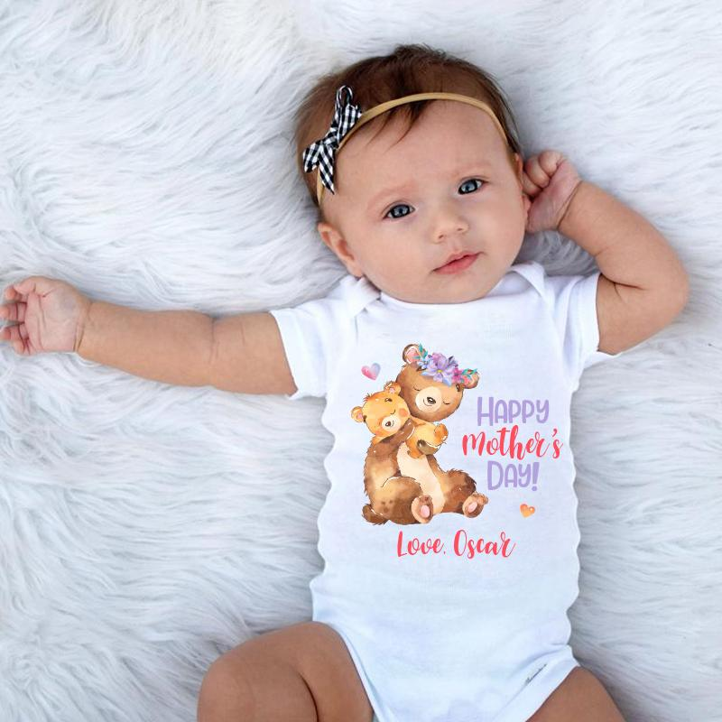 Custom Bear Mama and Baby Mother's Day Onesies and Matching Mom Shirts
