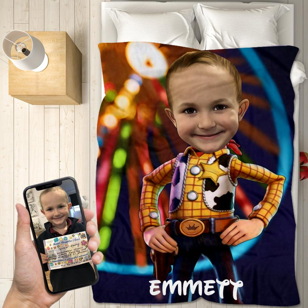 Personalized Hand-Drawing Kid's Photo Portrait Velveteen Plush Blanket XXVI - Made in USA