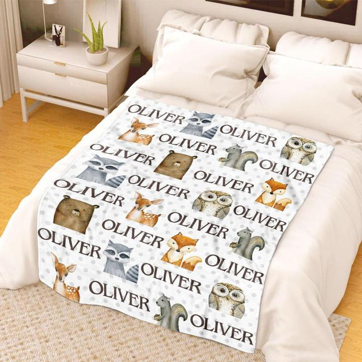 Custom Name Velveteen Plush Blanket for Boys III - Made in USA