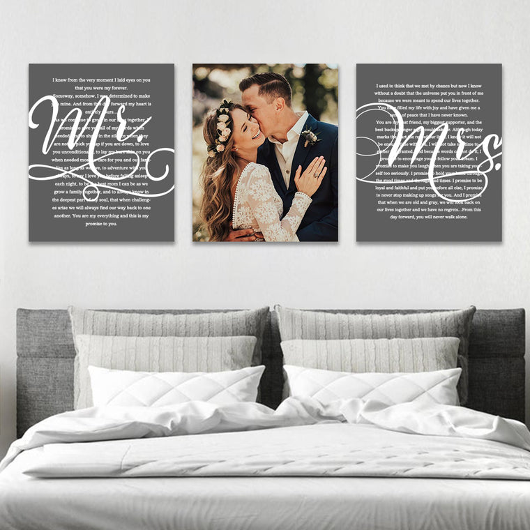 Personalized Framed Wedding Vows Canvas Wall Art, 3 Piece Set Canvas Print I
