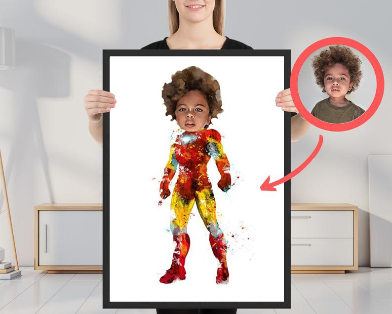 Custom Hand-Drawing Kid's Portrait Canvas Wall Art III