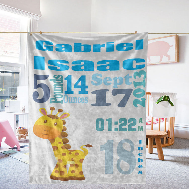 Personalized Giraffe Baby Blanket with Name & Birth Stats, Personalized Hospital Blanket for Newborn Baby